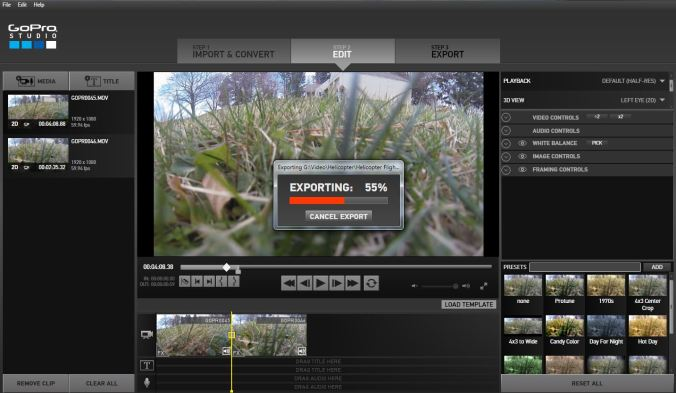 GoPro Studio Exporting a File