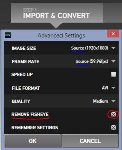 GoPro Import Convert Settings Out